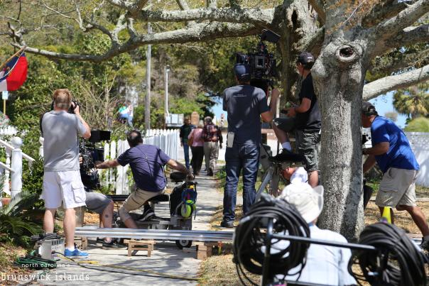 A movie crew films on location in Southport, NC in the Brunswick Islands