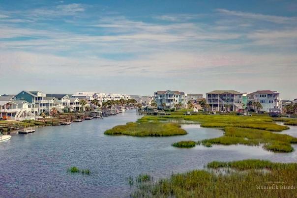 Ocean Isle Beach NC canal aerial photo