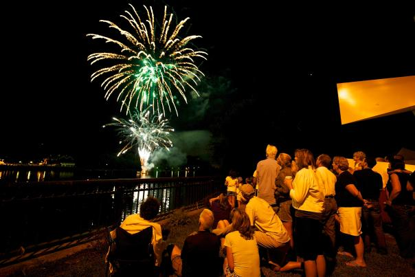 Visitors and locals enjoy the fireworks over the Delaware River. New Hope and neighboring Lambertville, NJ, team up to produce fireworks shows every Friday night during the summer.