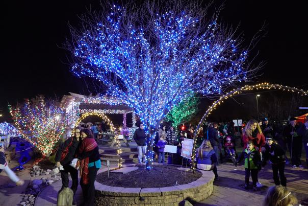 Friends and family can gather for the perfect holiday photo during Shady Brook Farm's Holiday Light Show.