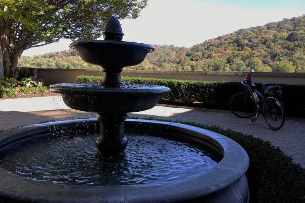 Bike fountain and fall foliage