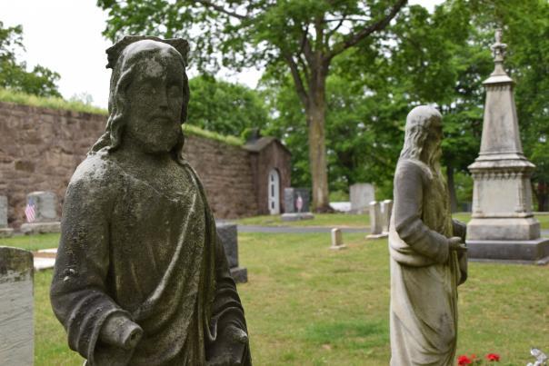 Stone figure in cemetery