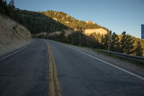 A stretch of open road leads the way to Casper, Wyoming.