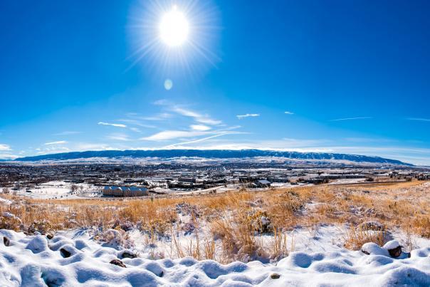 Snowy landscape on a bluebird day in Casper, WY