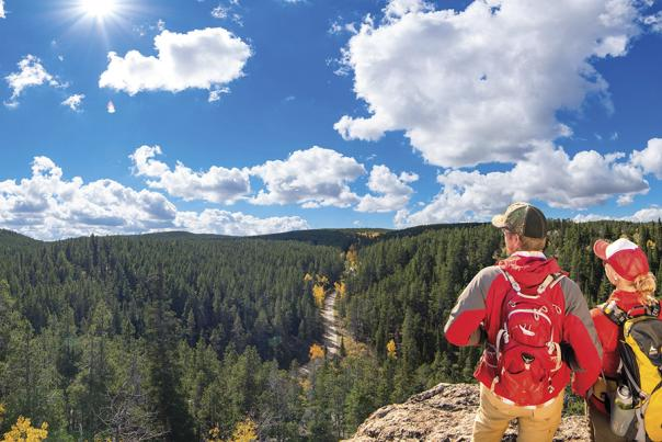 Hikers enjoy the view from a trail on Casper Mountain