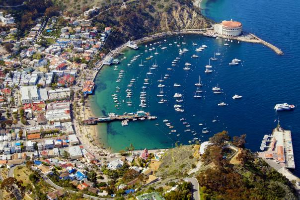 Aerial view of Avalon and the harbor on Catalina Island