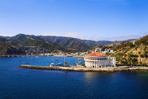 View of Avalon, California, the Catalina Casino and it's waterfront on Catalina Island