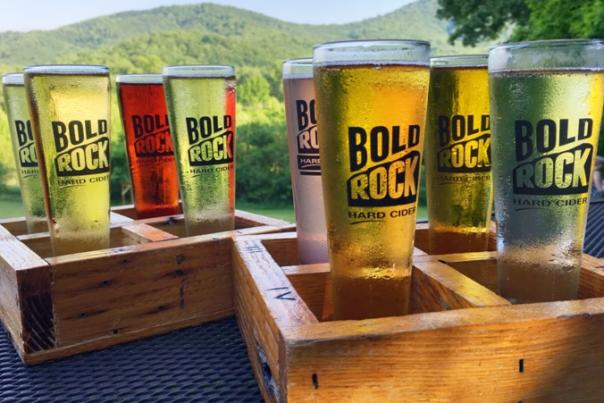 Bold Rock Cider glasses with mountains in the background