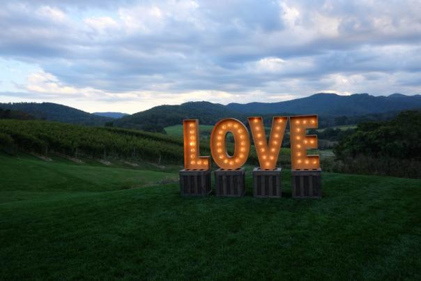 LOVE sign at Pippin Hill