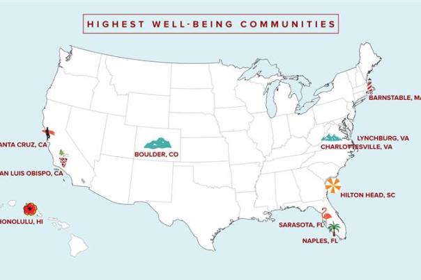 Map of the USA Showing Highest Well-Being Communities