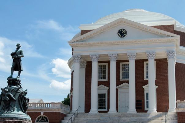 UVA Rotunda and Jefferson Statue