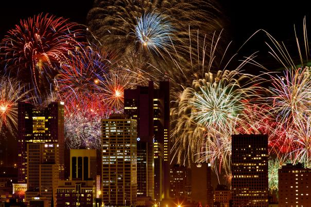 Fireworks over Columbus skyline in night sky at Red, White & BOOM!