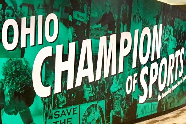 "Entrance signage of ""Ohio - Champion of Sports"" exhibit at Ohio History Center"