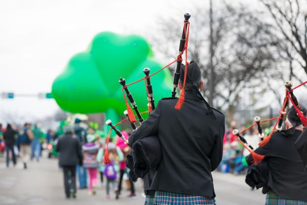 Bagpipers in a St. Patrick's Day Parade