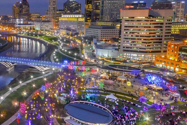 Scioto Mile Lights-Square From Above