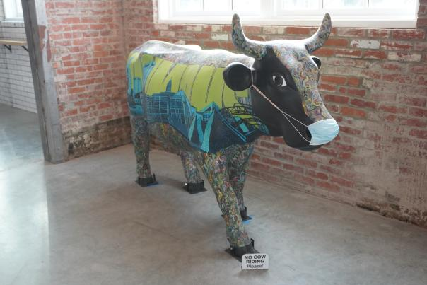 Cow painted with the Columbus skyline at Budd Dairy Food Hall
