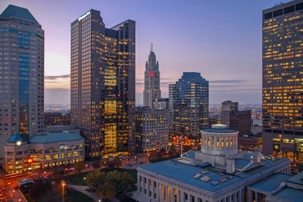 Skyline w/ Statehouse in the evening