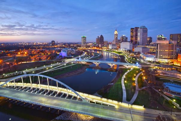 Aerial view of Scioto River and Downtown Columbus at sunset