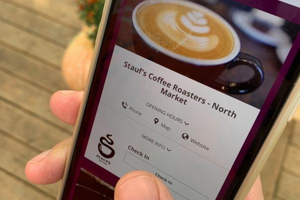 Someone checks Stauf's Coffee Roasters off their Columbus Coffee Trail Digital Experience list.
