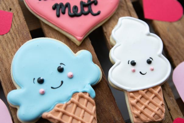 "Kittie's Cakes Cutout Valentine's Cookies - Ice Cream + ""You Make My Heart Melt"""