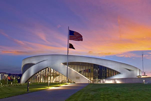 National Veterans Memorial and Museum at dusk