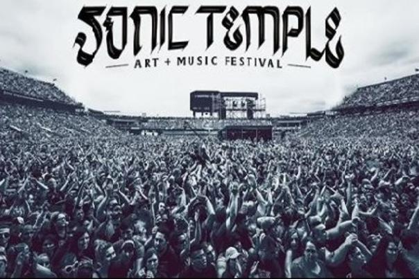 Crowd at Mapfre Stadium during concert with Sonic Temple Festival logo