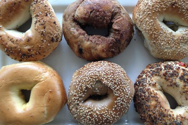 Top-down view of 6 varieties of bagels from Sammy's New York Bagels