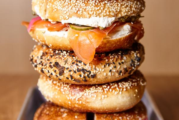 Stack of bagels from the Lox Bagel Shop