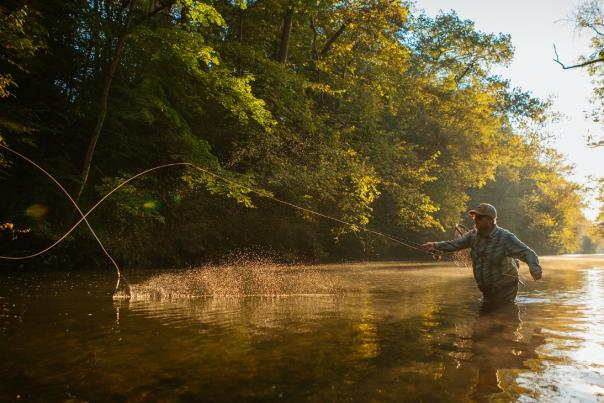A lone fisherman casts his line while fly-fishing at Yellow Breeches Creek.