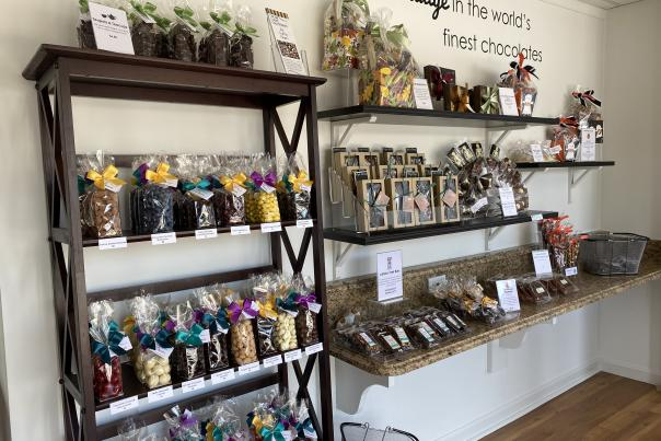 A selection of hand-crafted treats line the shelves at Cocoa Creek Chocolates in Camp Hill.