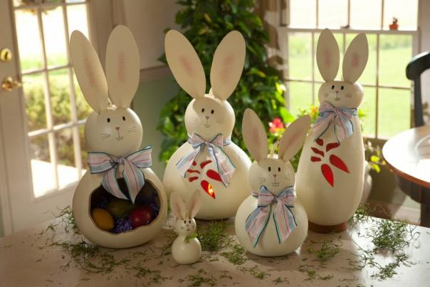 These Easter bunny decorations are made from gourds at Meadowbrooke Gourds in Cumberland Valley.