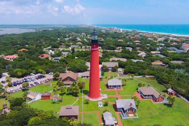 An aerial view of Ponce Inlet Lighthouse