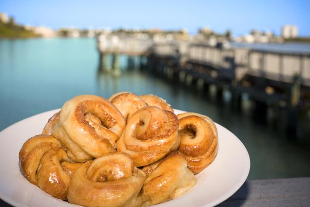 A plate of Aunt Catfish's famous cinnamon rolls