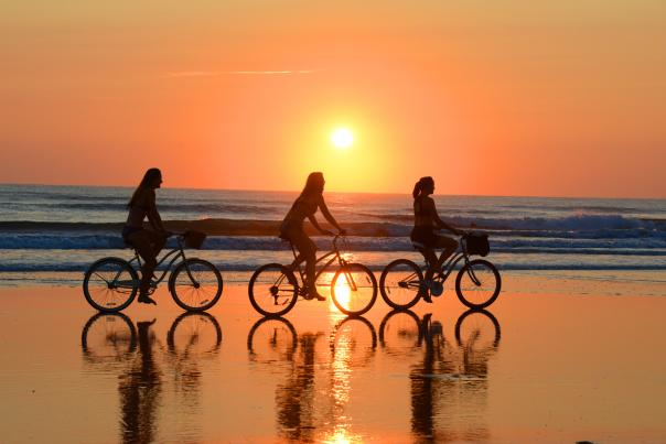 Bicycling on the beach
