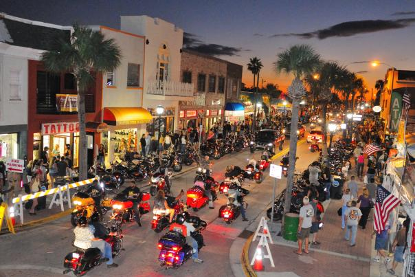 Main Street at night during Biketoberfest