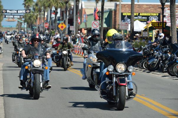 Palm-lined Main Street welcomes riders during annual motorcycle rallies in the spring and fall
