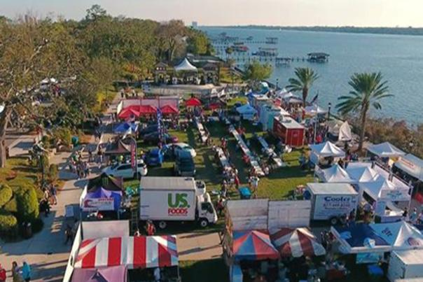 An aerial view of Riverfest at The Casements along the Halifax River