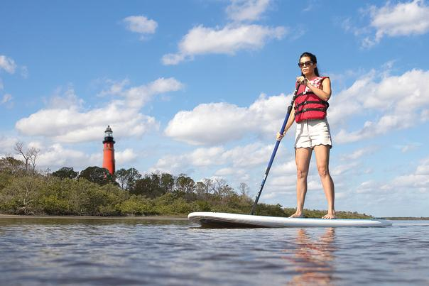 Lighthouse and Paddleboard