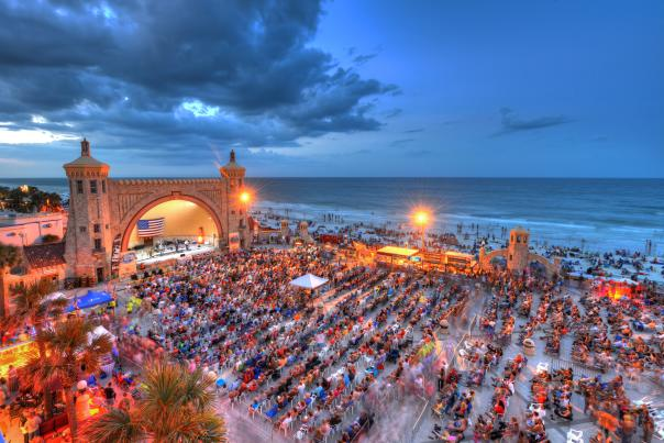 The oceanfront Daytona Beach Bandshell draws large crowds every summer for its free concert series
