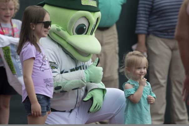 Daytona Tortugas' Mascot Shelldon is a huge crowd pleaser at Daytona Beach home games