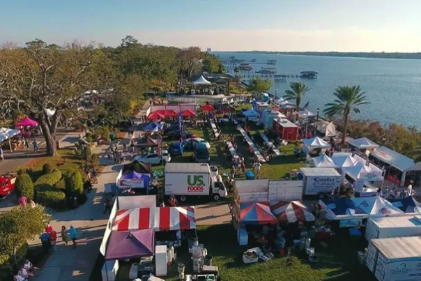 A fall festival in Daytona Beach along the Halifax River.