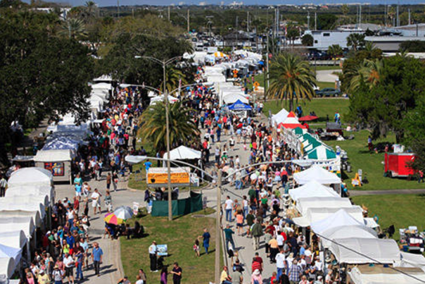 An aerial view of a Daytona Beach area festival