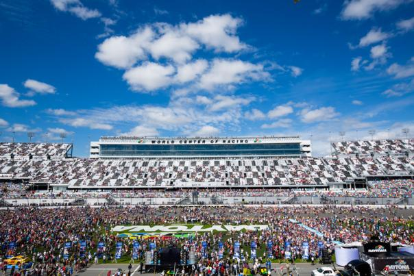 The crowd gathers in the infield of Daytona International Speedway