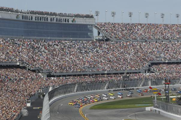 View of the huge crowd at Daytona International Speedway during a DAYTONA 500 race