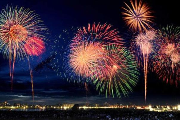 Fireworks light up the sky over the Intracoastal Waterway