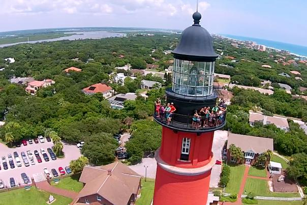 An aerial view from Ponce Inlet Lighthouse