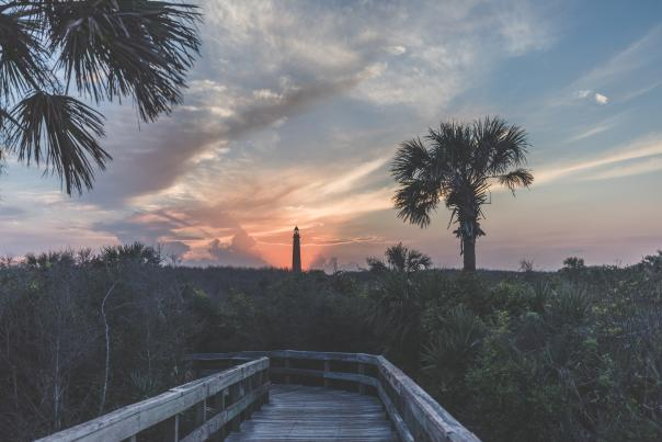 While Ponce Inlet Lighthouse isn't in Lighthouse Point Park, the park offers spectacular views of it especially at sunset