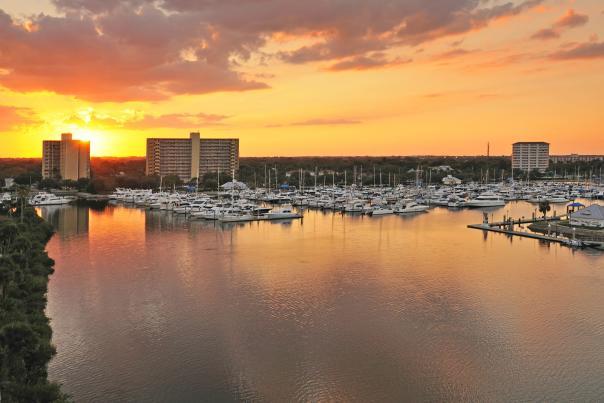 Daytona Beach Boating and the Halifax River at Sunset