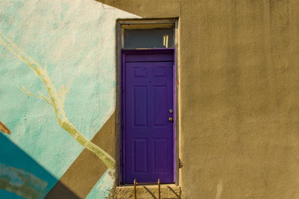 Iconic purple door in Denton, TX