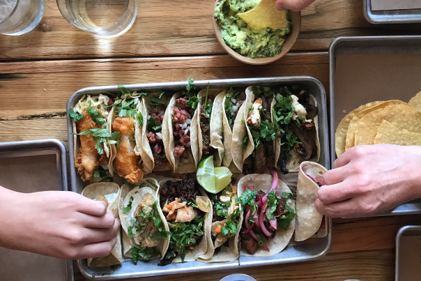 Tray of Tacos at Mexican Restaurant